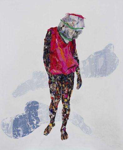 Vitshois Mwilambwe, Ego, mixed media, acrylic and collage on canvas, 2013 (courtesy of the artist)