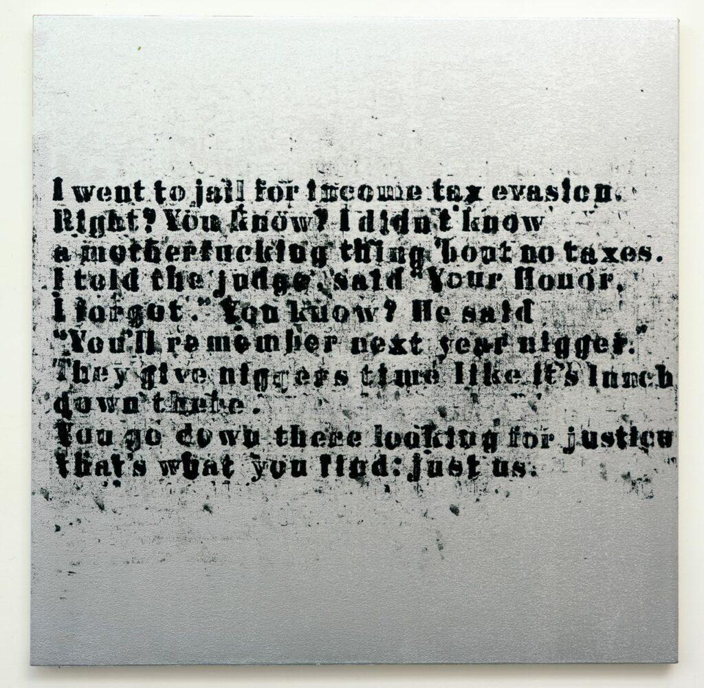 Glenn Ligon Just Us #6, 2008. Acrylic and oilstick on canvas, Photo courtesy of the Danjuma Collection