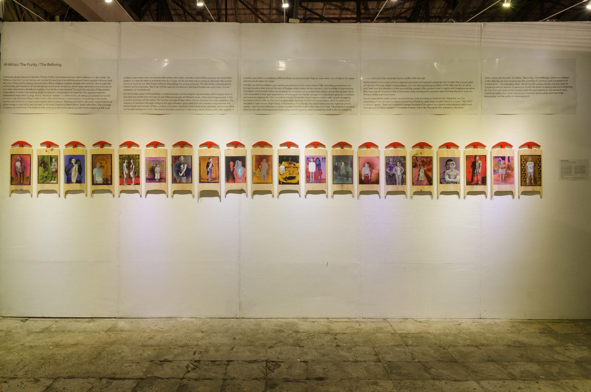 Aderemi Adegbite, 'Al-Ikhlas. The Purity The Reading', Photography on Islamic Slates. Photo Credits Kelas Pagi Yogyakarta and Biennale Jogja XIII