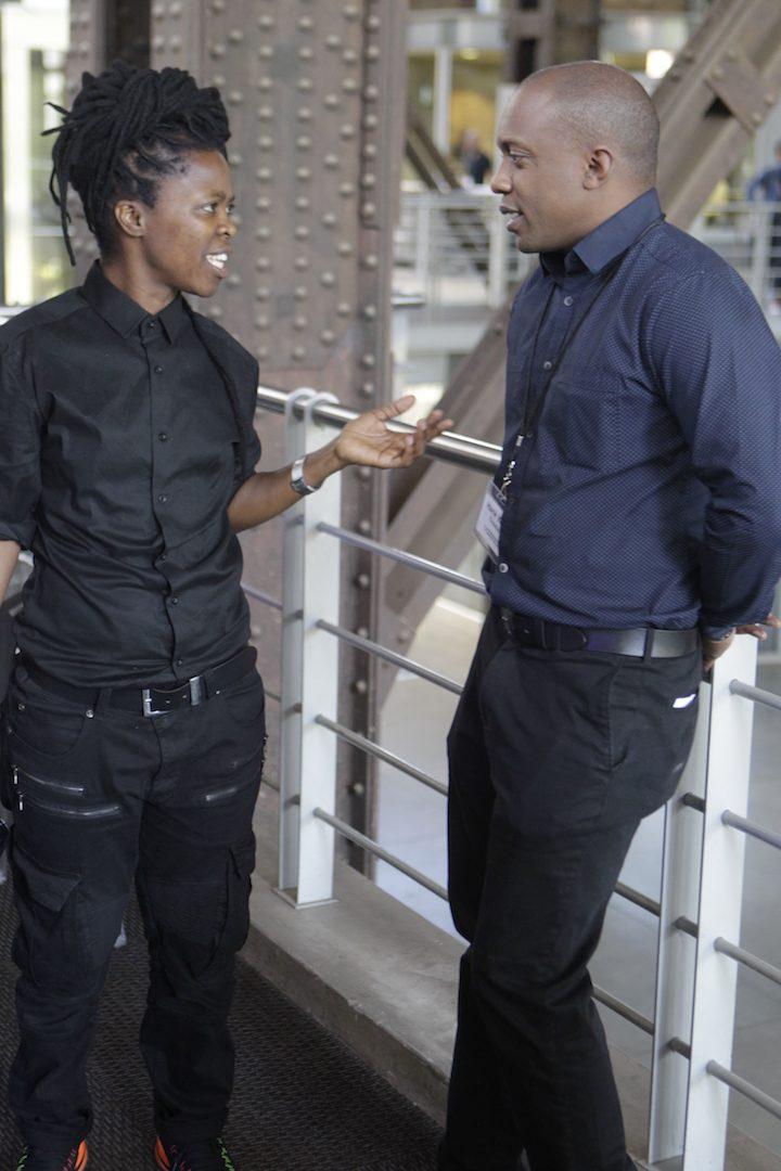 "Photographer Zanele Muholi and artist Hank Willis Thomas, co-curator of ""Africans in America""."
