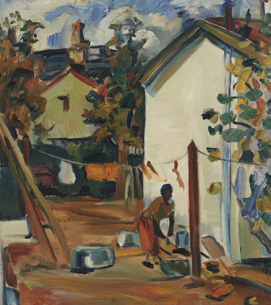 Irma Stern, Born 1894, Schweizer-Reneke, North West. Died 1966, Cape Town, Western Cape. Backyard, Oil on canvas, 1930's